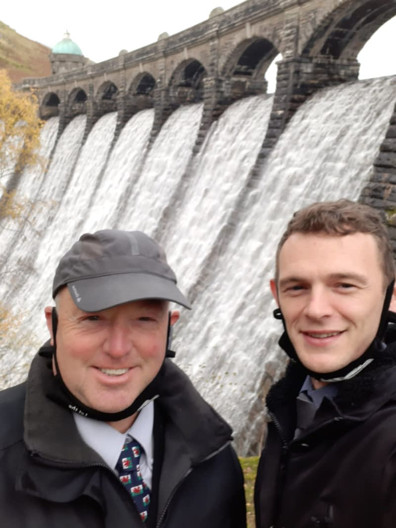 West Wales Walker - Stephen and Rhodri at Claerwen Dam